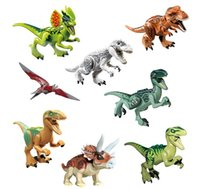 Wholesale Jurassic Park Dinosaurs Toys - 2017 new 8 style Jurassic World Park, dinosaur building blocks, assembling, inserting model, children's educational toys by dhl kids toys
