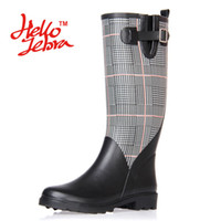 Wholesale tall high heel waterproof boots - Women Tall Rain Boots Lady Plaid Canvas Low Heels Waterproof Welly Spot Buckle High Nubuck Rainboots 2016 New Fashion Design Black and White