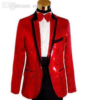 Wholesale Mens Dress Set - Wholesale-White black red sequin Singers fashion formal dress marriage suits tuxedo blazer mens blazers set man jackets + trousers M L XL