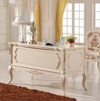 französische tische großhandel-Französisch Baroque Style Luxury Executive Schreibtisch / European Classic Holzschnitzerei Schreibtisch / Retro Home Office Furniture p10192