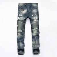 jeans de estilo americano para hombres al por mayor-Venta al por mayor- 2017 marca de moda de algodón exclusivo de los hombres de los pantalones vaqueros de alta calidad del diseñador del pantalón del estilo ocasional europeo y americano para los pantalones vaqueros masculinos