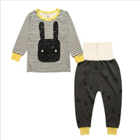 Wholesale Pijama Baby Boy - Wholesale- New fashion Baby Boys Girls household Sleepwear Kids long sleeves O-neck printing cartoon animals Cotton Pijama Sets