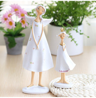 Wholesale Antique Elf - European Style Resin Mother Daughter Angel Elf 2PCS SET Artificial Ornaments Crafts Home Decor Birthday Gift Fairy Figurines