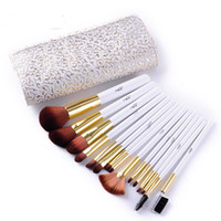 Wholesale Wooden Bag Handles Wholesale - Professional MSQ 15PCS Makeup Brush Set With PU Bag Brand New Cosmetics White Wooden Handle DHL Free Wholesale Elaborate Make Up Brush Tools