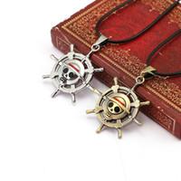 skelett schmuckstücke großhandel-Ein Stück Halsketten Anhänger Schmuck Rudder Flag Einfache Skeleton Bronze Silber Seil Leder Halskette