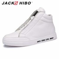 Wholesale Mens Hip Hop Shoes - Wholesale-JACKSHIBO 2016 Autumn Winter brand mens middle top boots,fashion metrosexual man hip hop street shoes,white popular flats boot
