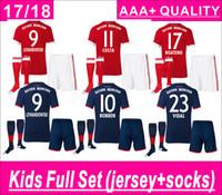 Wholesale Boys Sets Yellow - Kids Full Set (set+socks) LEWANDOWSKI home and away Soocer Jersey Maglie Calcio MULLER ROBBEN COSTA ALABA Soccer Jerseys AAA+ thai quality