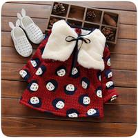 Wholesale Wholesale Faux Fur Long Vest - Wholesale- 2016 Autumn Winter Baby girl dress suit Outerwear Fashion Faux Fur Hooded Vests coat + long sleeve flower printed fleece dress