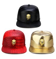 Wholesale leather hat buckles - Metal Gold Lion Head Logo PU Leather Baseball Cap Casual Unisex Belt Buckle Hip Hop Rap 3 Panel Sun Snapback Hats Men Women