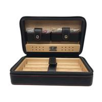 Wholesale lighter cigar cutter - COHIBA Black Leather Cedar Lined Cigar Case Cigarette Humidor with Cutter & Lighter Cugar Scissor for smoking
