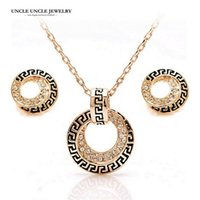 Wholesale G Earrings - Beautiful Design!!! Rose Gold Color Retro Rome Round Design Austrian Rhinestones G Style Jewelry Set Earrings Necklace Wholesale