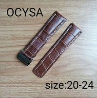 Wholesale Breitling Buckle - Ocysa Brand Genuine Leather Watch Strap 24mm Watch Band fit navitimer avenger Breitling Watch band Buckle With Logo