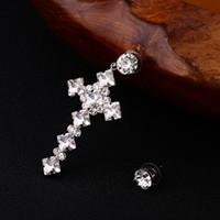 Wholesale Big Rhinestone Cross Pendants - Fashion sliver plated Cross Earrings For Women Statement Jewelry Big Cross Dangle Earrings Pendants Bijoux Bosewin Jewelry E155