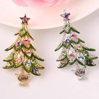 Wholesale Vision Costume - fashion vision Fashion Bohemian Christmas Tree Star Enamel Crystal Rhinestone Brooches Pin Female Broche Costume Bijoux Accessory Gift xz79