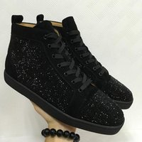 Oferta Especial 2017 Suede Black Rhinestone Strass Red Bottom Shoes Homens Mulheres Flat Red Sole Shoes High-Top Sneaker Lace-up Casual Shoes