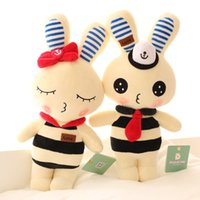 Wholesale Lovely Couple Teddy Bear - Wholesale action figures Baby rabbit doll Cloth Stuffed plush girl Christmas gift 38cm Lovely couple navy rabbit plush toy