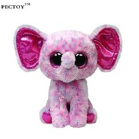 Wholesale Medium Plush Toys - Wholesale- Beanie Boos Original Big Eyes Plush Toy Doll Child Birthday Beanie Boos Buddies Ellie Pink Speckled Elephant Medium Plush 15cm