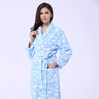 Wholesale Soft Coral Fleece Sleepwear - Coral Fleece bathrobe sleepwear bathrobes for women and girls super soft warm robe thickening lovers robe plus size free shipping