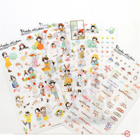 Wholesale Girl Scrapbooks - Wholesale- 6sheets lot Lovely Girl Transparent Planner Calendar Book Cute Diary Sticker Scrapbook Decoration Vintage Paper Stickers Diary