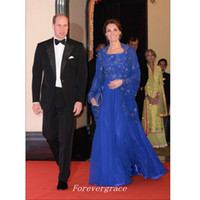 Wholesale kate middleton chiffon evening dresses for sale - Group buy Kaftan Royal Blue Long Sleeves Evening Dress Formal Beaded Chiffon Kate Middleton Party Celebrity Gown Cheap Custom Made Plus Size