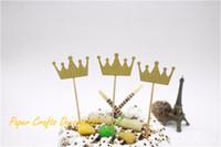 coroas de festa para crianças venda por atacado-Atacado-3pcs / lot 2.5 * 4cm Glitter Gold Birthday Crown Bolo Topper Kit 1º Aniversário Kids Cake Decoração Party Supplies