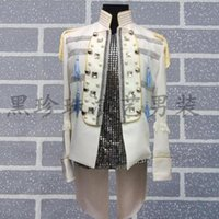 Wholesale dance costume tuxedo - men suits designs masculino homme terno stage costumes for singers men sequin blazer dance clothes jacket style tuxedo dress