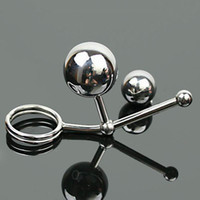 Wholesale Double Anal Hook Metal - A520 Male stainless steel anal Plug,Double Metal balls can replace Adjustable penis ring Anal ball hook,Butt plug Adult Sex Products