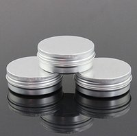 Wholesale Bamboo Cosmetic Packaging - 60g aluminum empty cosmetic container with lids 60ml small round lip balm tin solid perfume cosmetic packaging jar sample bottle