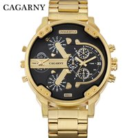 Wholesale cool military watches - Cagarny Men's Watches Men Fashion Quartz Wristwatches Cool Big Case Golden Steel Watchband Military Relogio Masculino D6820 Hour