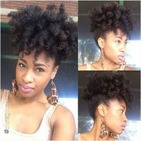 Wholesale ponytails black women hairstyles for sale - Group buy kinky curly afro ponytail clip human hair extensions Peruvian hair afro puff pony tails human Black short hairstyles for women
