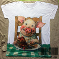 Wholesale Woman Pig Shirt - Track Ship+New Vintage Retro T-shirt Top Tee White Pig Piglet Charlotte Chocolate Birthday Cake Dining Table 0452