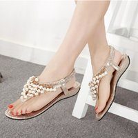 Wholesale Rome Sandals Gold - New Fashion Luxury Pearl Beaded Clip Toe Women Rome Sandals Ladies Bohemian Shoes 35-40