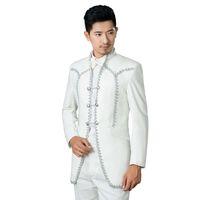 Wholesale Marry Dress Suits For Men - Wholesale- ( Jacket + Pants ) Men's Royal Court Dress Suit Groom Married Singer Stage Costumes Men Suits For Wedding