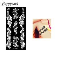 ingrosso gambe del airbrush-All'ingrosso-1 pezzo Hollow Tattoo Stencil per Airbrush Pittura Cool donne corpo gamba Art Wave Flower Design Template trucco S295