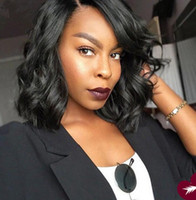 Wholesale Stocking Charm - Charming Short BobWave Wigs Simulation Brazilian Human Hair short bob style Wave wigs For black women in stock