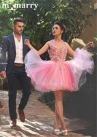 Wholesale Semi Sheer Formal Dress - Lovely Semi Pink Formal Dresses Homecoming Gowns 2016 A Line Halter 3D Flowers Mini Length Organza Cheap Arabic Short Prom Party Dresses