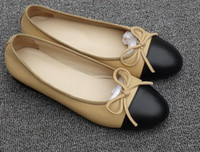 Wholesale Nude Diamond Shoes - 2017 new arrival top quality noble elegant classic Luxury brand Genuine Leather diamond lattice ladies Leisure stitching flat shoes