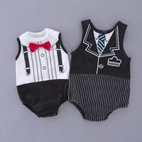 Wholesale New Baby Boy Tuxedo - Summer New Baby Boys Rompers Gentleman One Piece Sleeveless Black White Cotton Tuxedo Jumpsuit Infant Clothes 12100