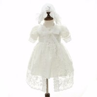 Wholesale Straight Wedding Gowns - Baby Girl Dress With Shwal + Hat for Girls Infant 1 Year Birthday Party Baptism Christening Ball Gown Wedding Party Dress