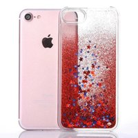 Wholesale Iphone Star Pouch - Dynamic Glitter Stars Clear Transparent Liquid Quicksand Phone Case Cover For iphone 6 Plus Hard Back Bling Cases For iphone 7 Plus 5