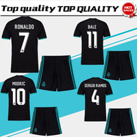 Wholesale New Men S Red Suit - New Real Madrid away black Soccer Jersey suit 17 18 Real Madrid soccer shirt kit 2018 Ronaldo Bale Football uniforms Asensio jersey+shorts