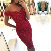 Wholesale Special Occasion Mini Dress - 2017 New Cocktail Dresses Sexy Red Sequined Appliqued Lace Short Party Homecoming Prom Dresses Elegant Off Shoulders Special Occasions Gowns