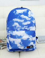 Wholesale Harajuku School Bags - Wholesale- NEW fashion Harajuku blue sky white clouds leisure graffiti backpack backpack male female high school sweethearts bag
