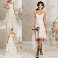 Wholesale Spaghetti Straps Short Dress - 2016 New Sexy Two Pieces Wedding Dresses Spaghetti Lace A Line Bridal Gowns With Hi-Lo Short Detachable Skirt Country Bohemian Wedding Gowns