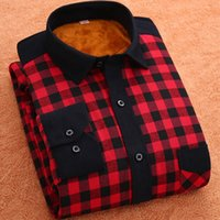 Wholesale Thick Corduroy Shirt - Wholesale- 2016 Mens Corduroy Plaid Shirts Warm Casual Gingham Checks Shirts for Winter Men Clothing Thick Thermal Red Checkered Shirts