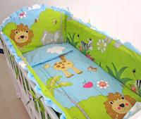 Wholesale Cot Sheets Sets - Promotion! 6PCS Cartoon baby cot bumper Baby Crib Bedding Set crib bumper bumper suit cartoon bedclothes ,include(4bumpers+sheet+pillowcase)