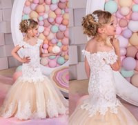Wholesale Princess Pageant Dresses For Kids - Pretty Champagne Lace Flower Girls Dresses Mermaid Off Shoulder Ruffles Puffy Tulle Capped Sleeves First Communion Pageant Gowns for Kids
