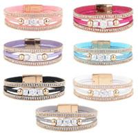 Wholesale Bracelet Cristal - Nouveau Bracelet De Perles De Cristal Dons Femmes Des Bracelets Magnétiques Bracelet Cuir TOP1881
