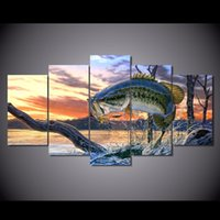 Wholesale Bass Fishing Paintings - 5Pcs Set Framed HD Printed Bass Jumping Fish Sunset Picture Wall Art Canvas Print Room Decor Poster Canvas Painting Pop Art
