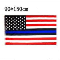 ingrosso rivestimento in poliestere-Sottile linea blu US Flag USA American Stars Stripes Bandiera 150CM * 90CM 3 * 5FT bandiera poliestere Banner sportivo